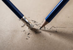 Write sharpened and erase concept royalty free stock photo