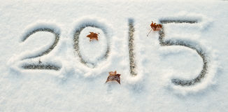 Write snow of 2015 Stock Photo