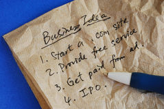 Write some creative business ideas on a tissue Royalty Free Stock Photos