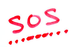 Write SOS with its morse code. Concepts of help stock images