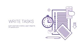 Write Tasks Planning Business Concept Banner With Copy Space Thin Line. Vector Illustration Stock Image