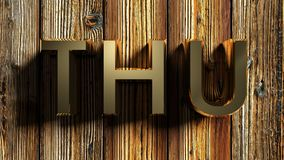 THU brass write on raw wood - 3D rendering Stock Photography