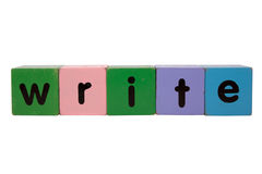 Write in toy blocks Stock Photos