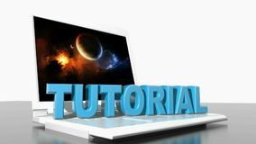 TUTORIAL on laptop computer - 3D rendering video stock illustration