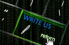 Write Us concept with the focus on the return button overlaid wi Stock Photography