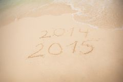 2014 and 2015 write on white sand Royalty Free Stock Photography