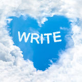 Write word on blue sky Stock Photos