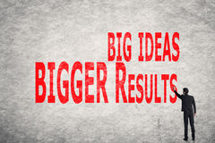 Write words on wall, Big Ideas Bigger Results. Asian business man write words on wall, Big Ideas Bigger Results stock photos