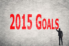 Write words on wall, 2015 Goals Royalty Free Stock Photography