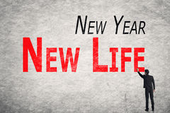 Write words on wall, New Year New Life Stock Photos