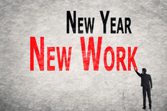 Write words on wall, New Year New Work Stock Images