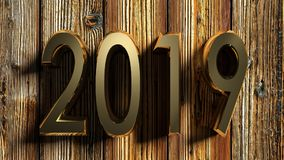 2019 brass write on raw wood - 3D rendering Stock Images