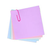 Write your own note on it!. Pink post-it notes with a pink paperclip on pure white background (isolated with CLIPPING PATH Royalty Free Stock Photography