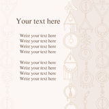 Write your text here. Vector postal. Greeting card in the style of Boho. Postcard of pastel tones. Royalty Free Stock Photos