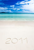 Writenn van het jaar 2011 in het zand Stock Afbeeldingen
