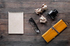 Writer acsessories. Vintage notebook, pen, crumpled paper and glasses on white background top view mockup Royalty Free Stock Photo