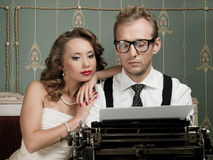 Writer And His Muse In Retro Style Stock Images