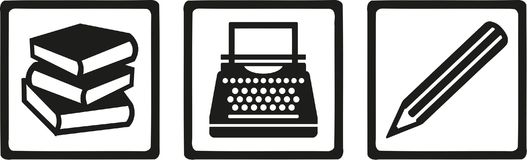 Writer author tools - book, typewriter, pen Stock Images