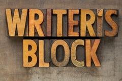 Writer block in letterpress type Royalty Free Stock Photos