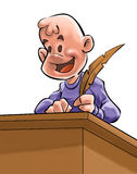 The Writer boy. A youg writer with a pen on a desk royalty free illustration