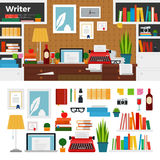 Writer cabinet interior with books. Writer working place vector flat illustrations. Writer cabinet interior with books, papers and computer. Computer, typewriter Royalty Free Stock Photo