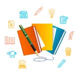 Writer Concept with Realistic Detailed 3d Book. Vector. Writer Concept with Realistic Detailed 3d Book and Color Outline Icons. Vector illustration of Books and Stock Images