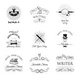 Writer vintage labeles and badges set. Vector illustration. Writer design elements. Isolated objects. vintage pen. ink, books vector illustration Vintage Stock Photo