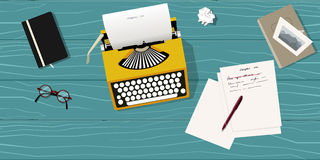 Writer desk with typewriter. Writers desk with typewriter. top view Royalty Free Stock Images