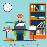 writer guy flat design concept Royalty Free Stock Image