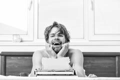 Writer handsome author used old fashioned manual typewriter. Morning bring fresh idea. Need inspiration. Crisis. Creativity. Daily routine of writer. Man writer stock photo