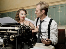 Writer and his muse in retro style Royalty Free Stock Image