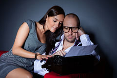 Writer and his muse Royalty Free Stock Photo