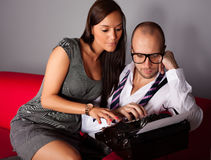 Writer and his muse Royalty Free Stock Images