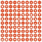 100 writer icons hexagon orange. 100 writer icons set in orange hexagon isolated vector illustration Royalty Free Stock Image