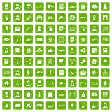 100 writer icons set grunge green Stock Images