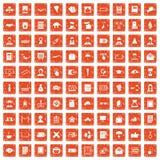 100 writer icons set grunge orange. 100 writer icons set in grunge style orange color isolated on white background vector illustration Royalty Free Stock Photos