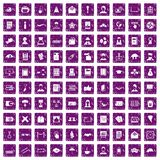 100 writer icons set grunge purple. 100 writer icons set in grunge style purple color isolated on white background vector illustration Stock Photography