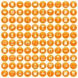 100 writer icons set orange. 100 writer icons set in orange circle isolated vector illustration Stock Image