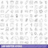 100 writer icons set, outline style. 100 writer icons set in outline style for any design vector illustration Stock Images