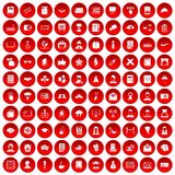 100 writer icons set red. 100 writer icons set in red circle isolated on white vectr illustration Stock Photography
