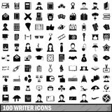 100 writer icons set, simple style Stock Image
