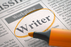 Writer Job Vacancy. 3D. Writer - Vacancy in Newspaper, Circled with a Orange Highlighter. Blurred Image with Selective focus. Job Seeking Concept. 3D stock image