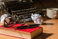 Writer. Journalist news table journalism write letter royalty free stock image
