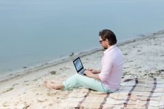 Writer with laptop Royalty Free Stock Photo