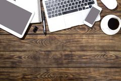 Writer. Laptop table nobody view business tablet Stock Photography