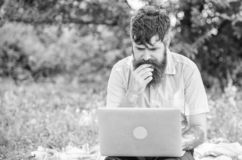 Writer looking for inspiration nature environment. Inspiration for blogging. Looking for inspiration. Blogger becoming. Inspired by nature. Man bearded with stock photo