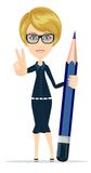 The writer with a pencil. The writer is a woman with pencil, vector illustration Royalty Free Stock Photo