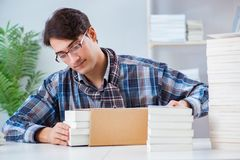 The writer presenting his books to public. Writer presenting his books to public Stock Photos