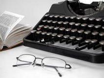 Writer's set. Book, glasses and typewriter Stock Images