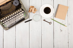 writer's workplace - wooden desk with typewriter Stock Image